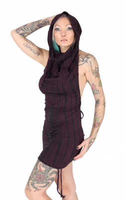 "Organic & Fairtrade Hooded Halter Dress ""MahaDevi"" Purpe Tie Dye"