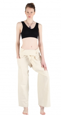 Slim Fit - Thai Wickelhose Fischerhose Creme