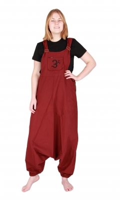 Jumpsuit Overall Harem Pants Hippy Trousers Dark Red