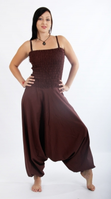 Harems Pants Dress Cotton Brown