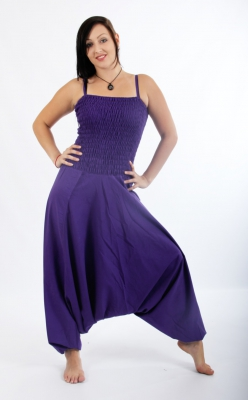 Harems Pants Dress Cotton Purple