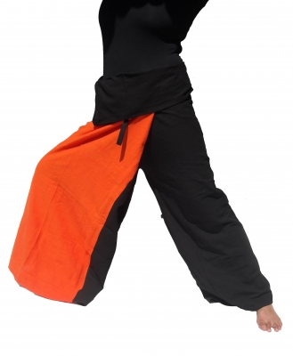 Samurai Hose Wickelhose Schwarz/Orange