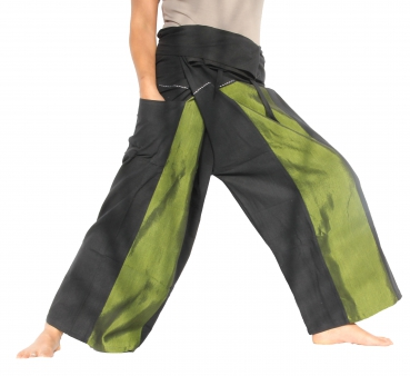 Thai Wickelhose / Fisherman Pants / Seide Grün