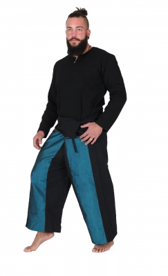 Thai Wickelhose / Fisherman Pants / Seide Turkis
