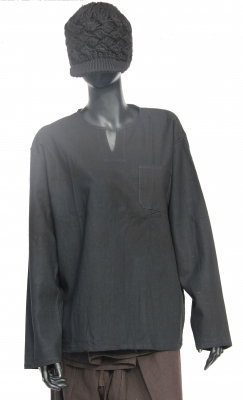 Yoga Shirt Blouse 100% Hemp Black
