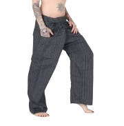 Thai Fisherman Yoga Hose Schwarz gestreift